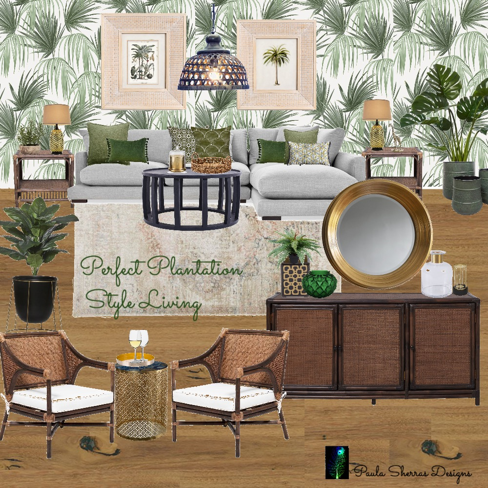 Perfect Plantation Style Living Interior Design Mood Board by Paula Sherras Designs on Style Sourcebook