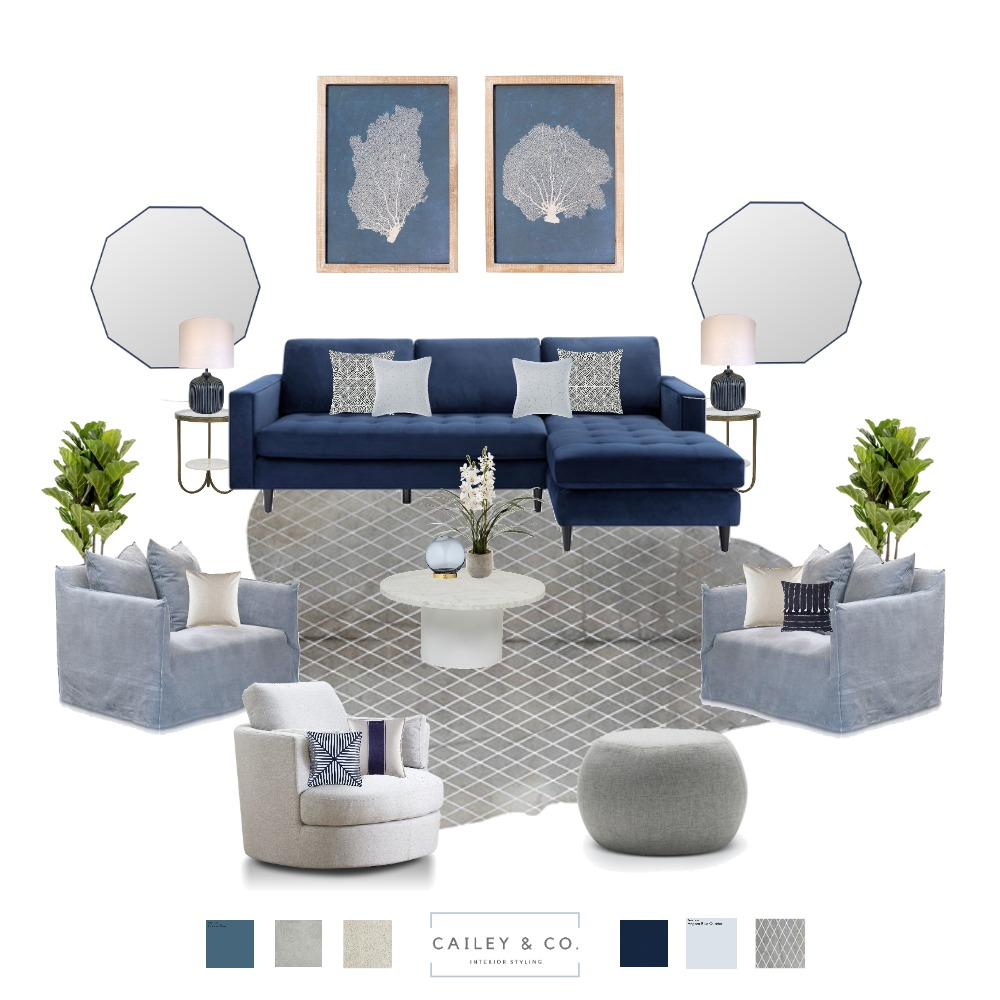 Navy Blue Inspired Living Room Interior Design Mood Board by Cailey & Co. Interior Styling on Style Sourcebook