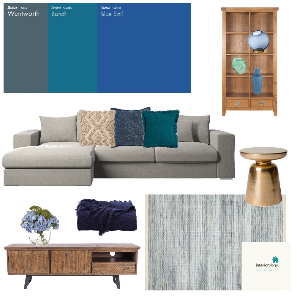 Upstairs casual living - Blue accents Interior Design Mood Board by interiorology on Style Sourcebook