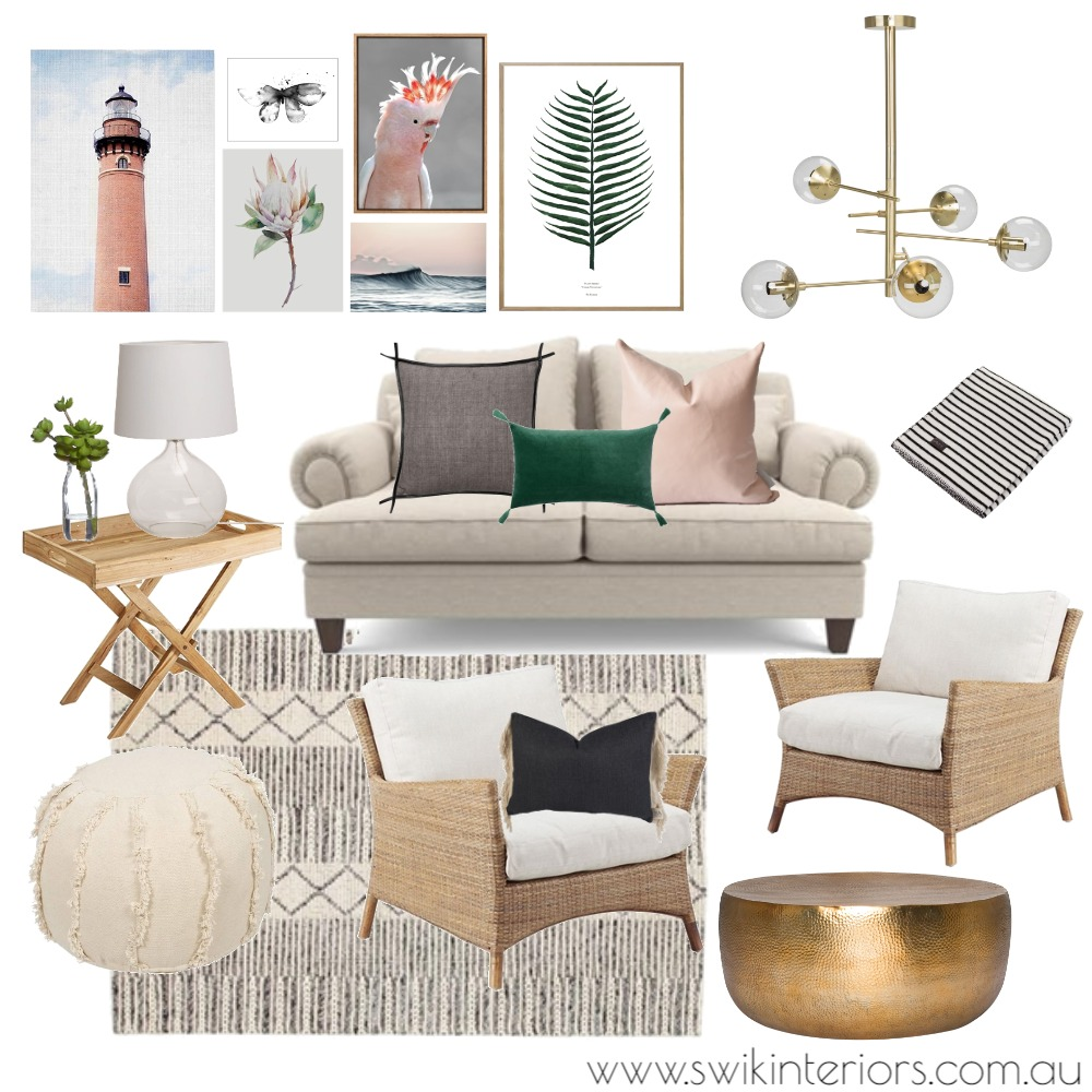 Relaxed coastal-inspired living Interior Design Mood Board by SWIK Interiors on Style Sourcebook