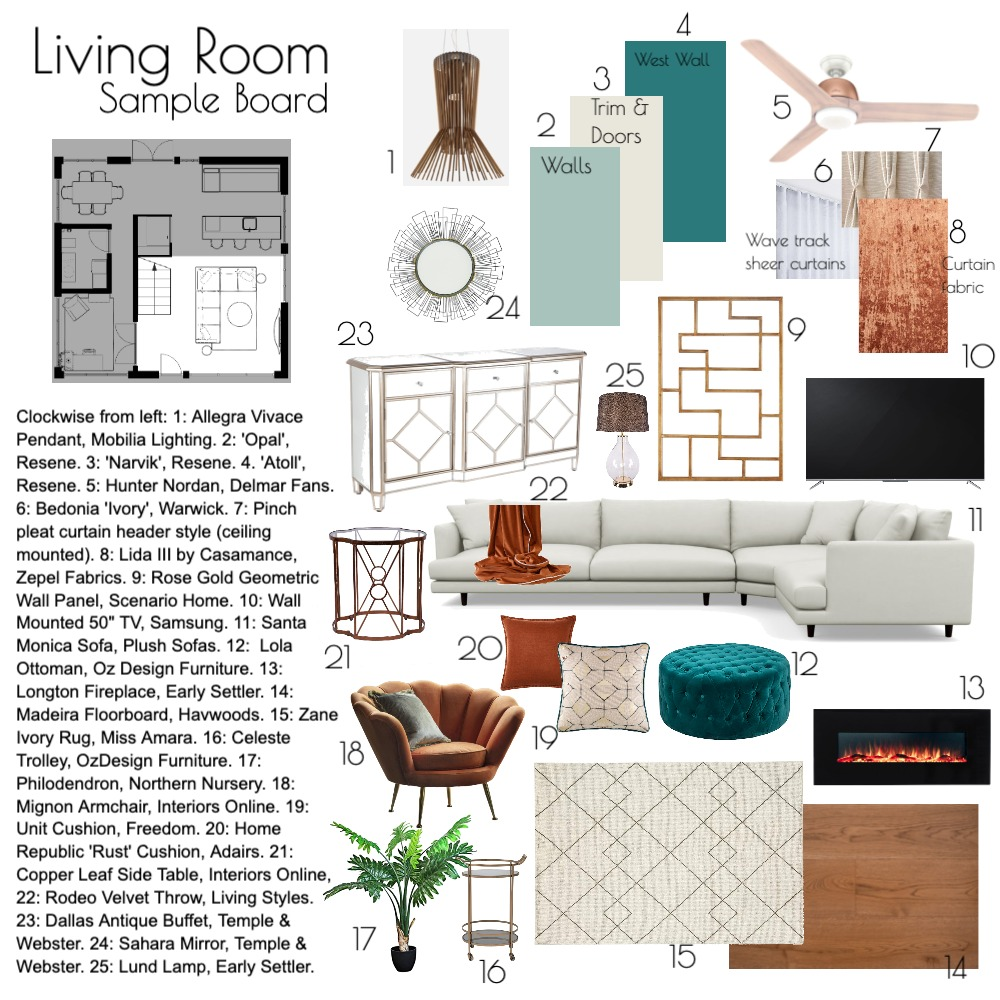 Mod9 Living Room Interior Design Mood Board by AbbieJones on Style Sourcebook
