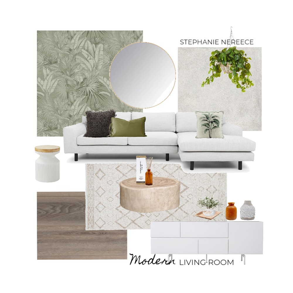 Wallpaper Natural Living Room Interior Design Mood Board by Steph Nereece on Style Sourcebook