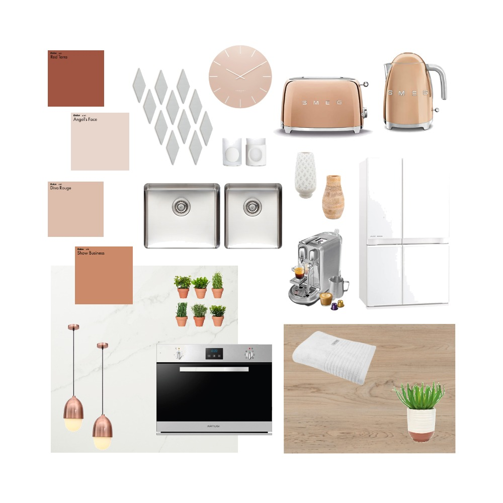 Pink Natural Tone Kitchen Interior Design Mood Board by Steph Nereece on Style Sourcebook