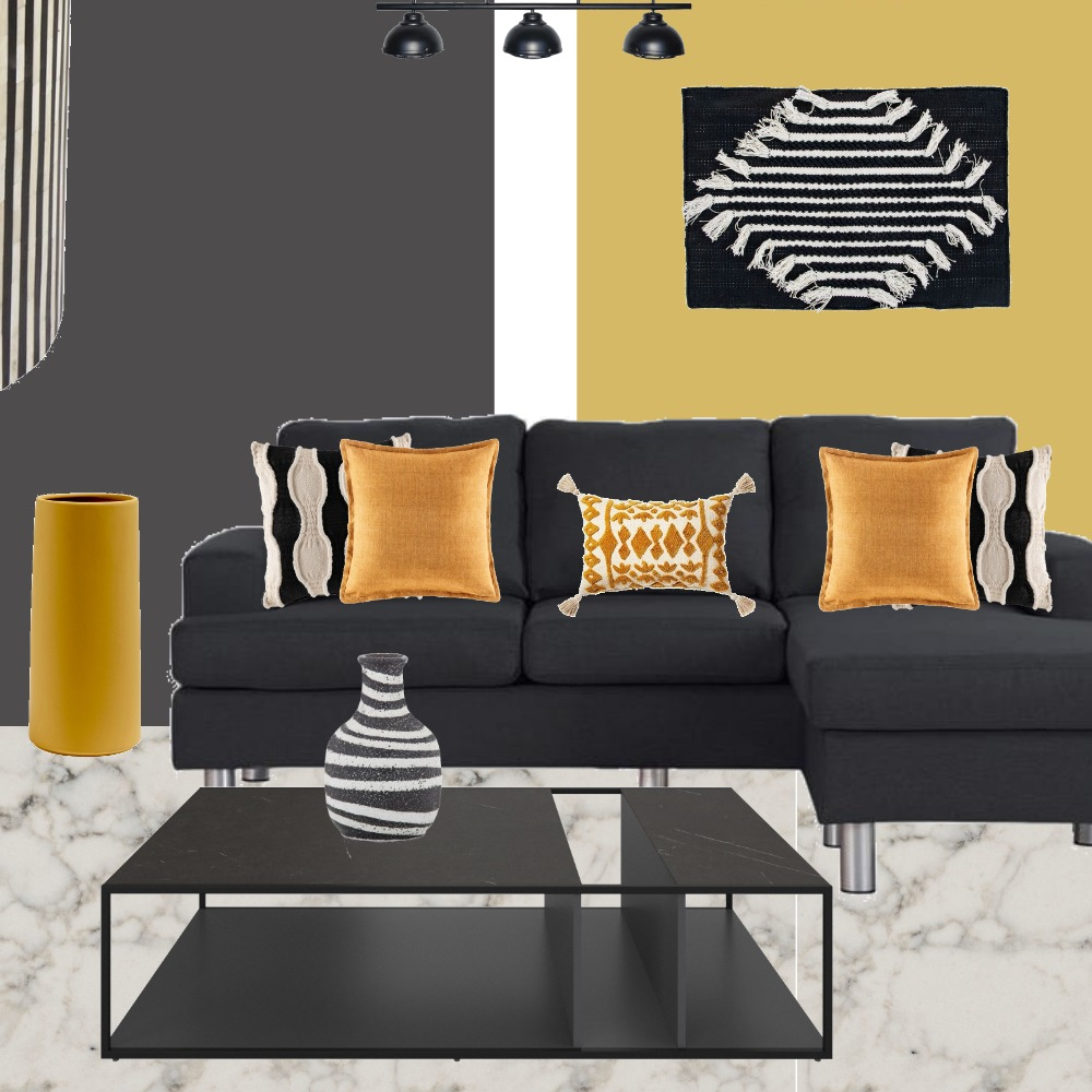 Charcoal and mustard living room Interior Design Mood Board by dekel on Style Sourcebook