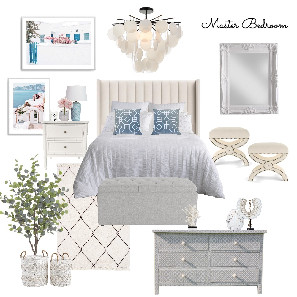 A&M Master Bedroom Coastal Hamptons 2.0 Interior Design Mood Board by Abbye Louise on Style Sourcebook