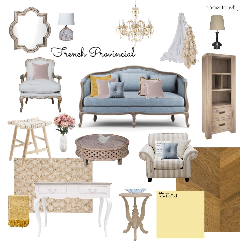 French Provincial Living Room 3 Interior Design Mood Board by Homes to Liv By on Style Sourcebook