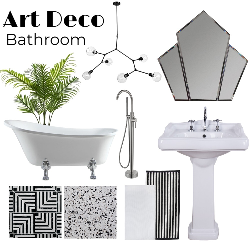 Art Deco Bathroom Interior Design Mood Board by The Plumbette on Style Sourcebook