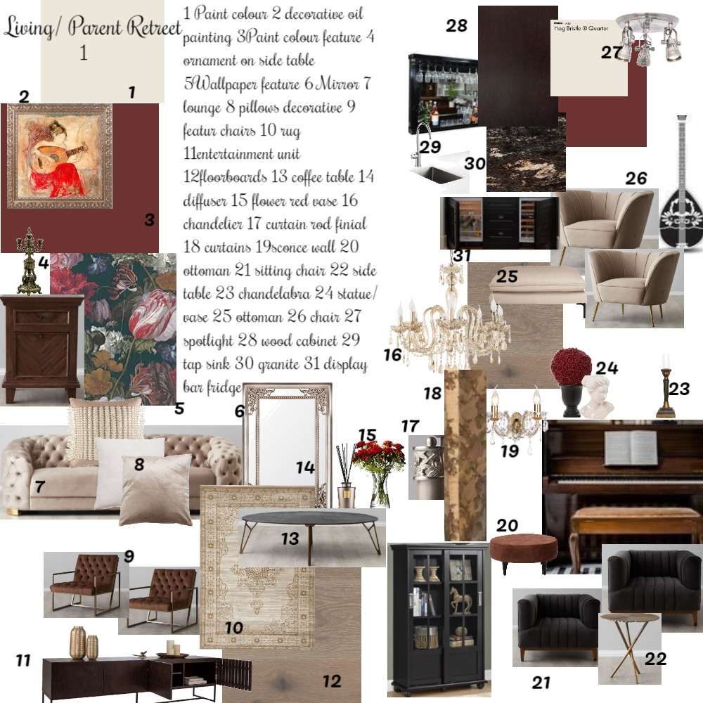 living room / parent retreet Interior Design Mood Board by Balazs Interiors on Style Sourcebook