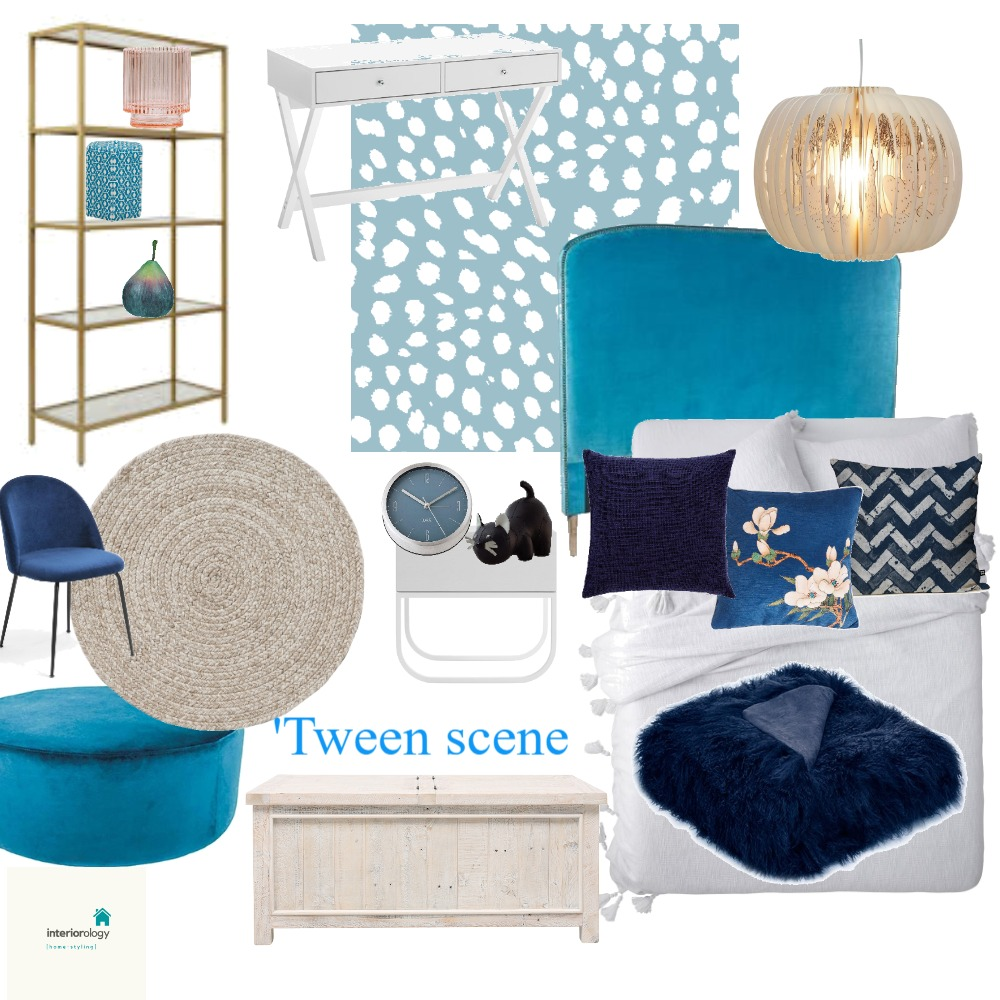 Tween bedroom makeover - aqua with blue and gold accents Interior Design Mood Board by interiorology on Style Sourcebook