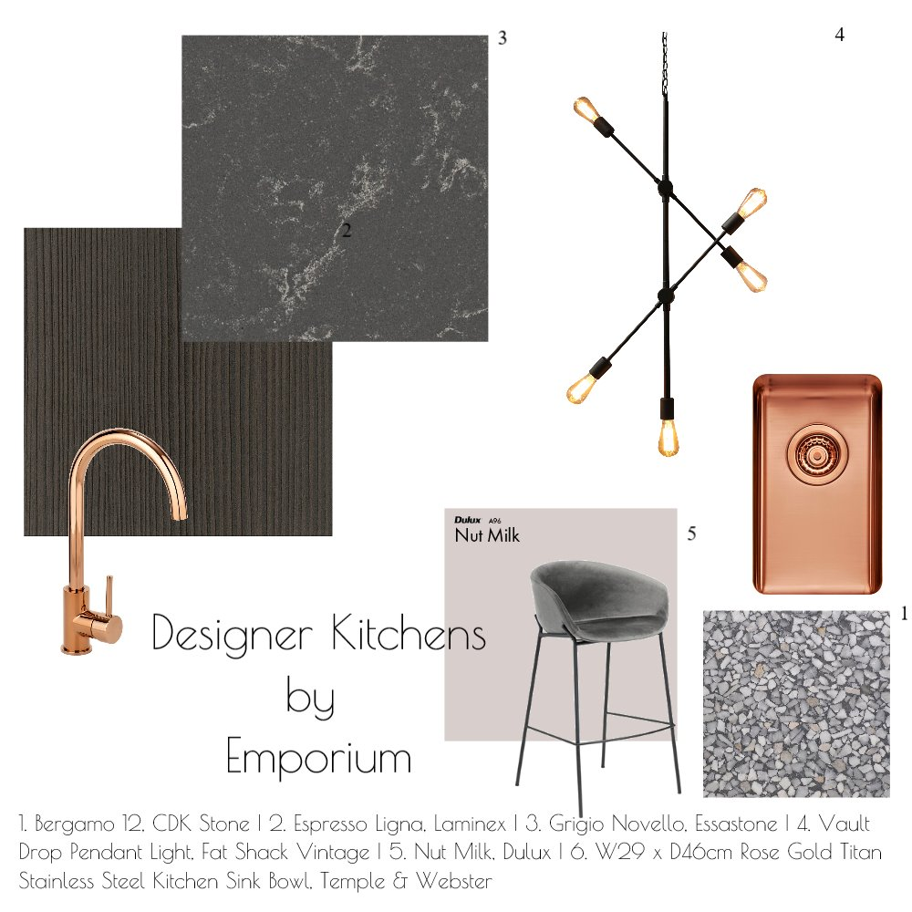 Chocolate & Rose Gold Palette Interior Design Mood Board by Bespoke by Emporium Design on Style Sourcebook