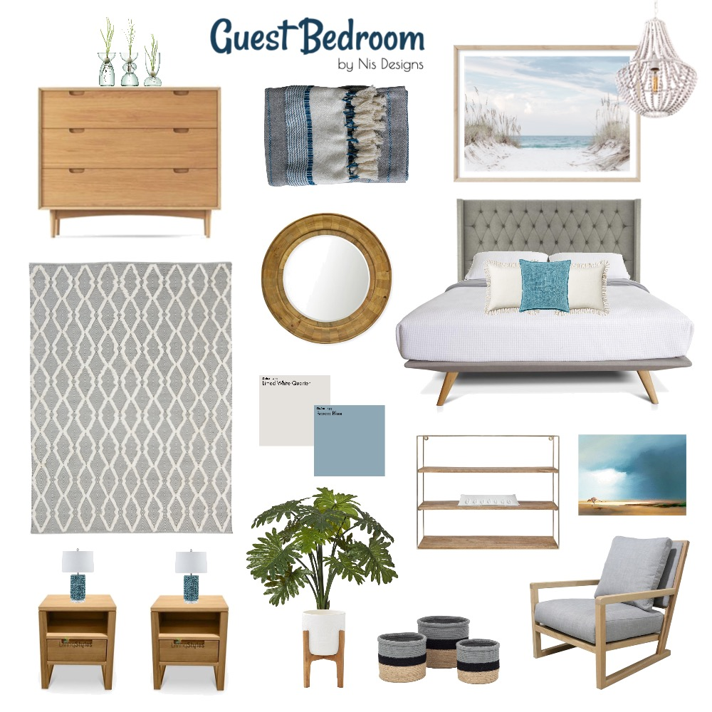 Guest Bedroom - Beachy Interior Design Mood Board by Nis Designs on Style Sourcebook