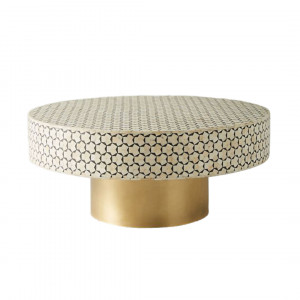 Bone Inlay Coffee Table - Charcoal and Brass by Mahlia Interiors, a Coffee Table for sale on Style Sourcebook