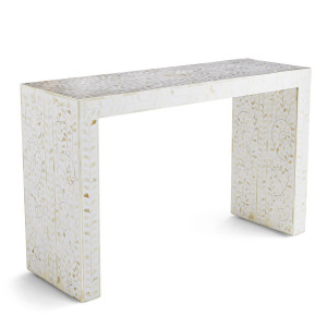 Bone Inlay Waterfall Console Table Floral - White by Mahlia Interiors, a Console Table for sale on Style Sourcebook