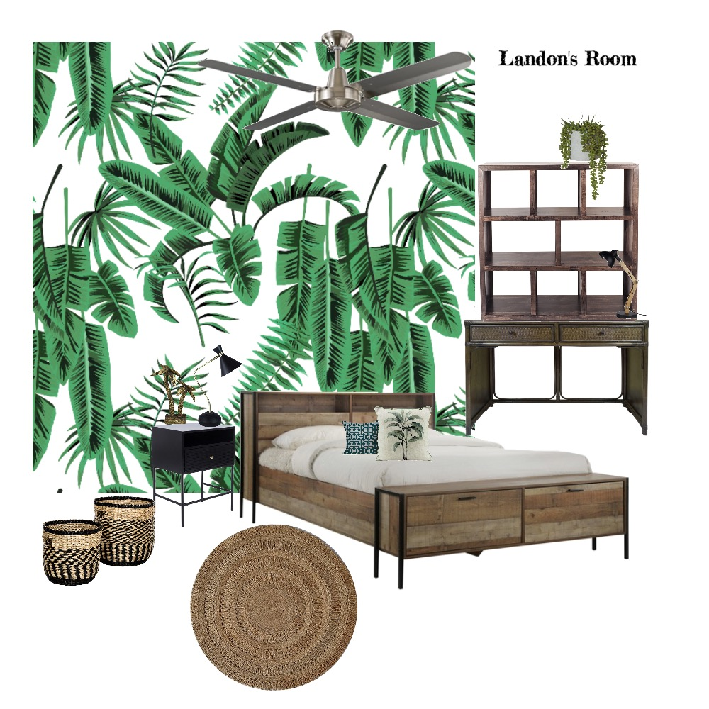 Landon's Jungle Bedroom Interior Design Mood Board by rowena.donnelly on Style Sourcebook