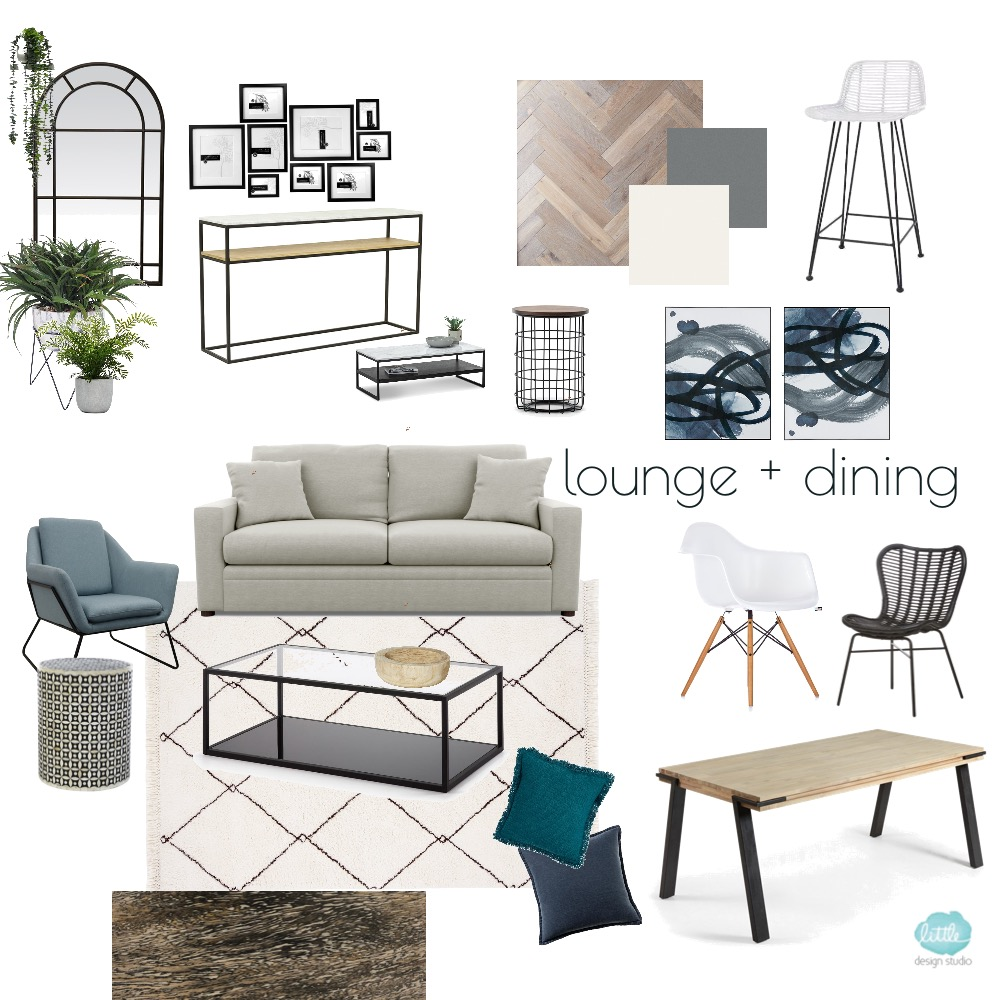 Hughes Lounge glass coffee table Interior Design Mood Board by Little Design Studio on Style Sourcebook