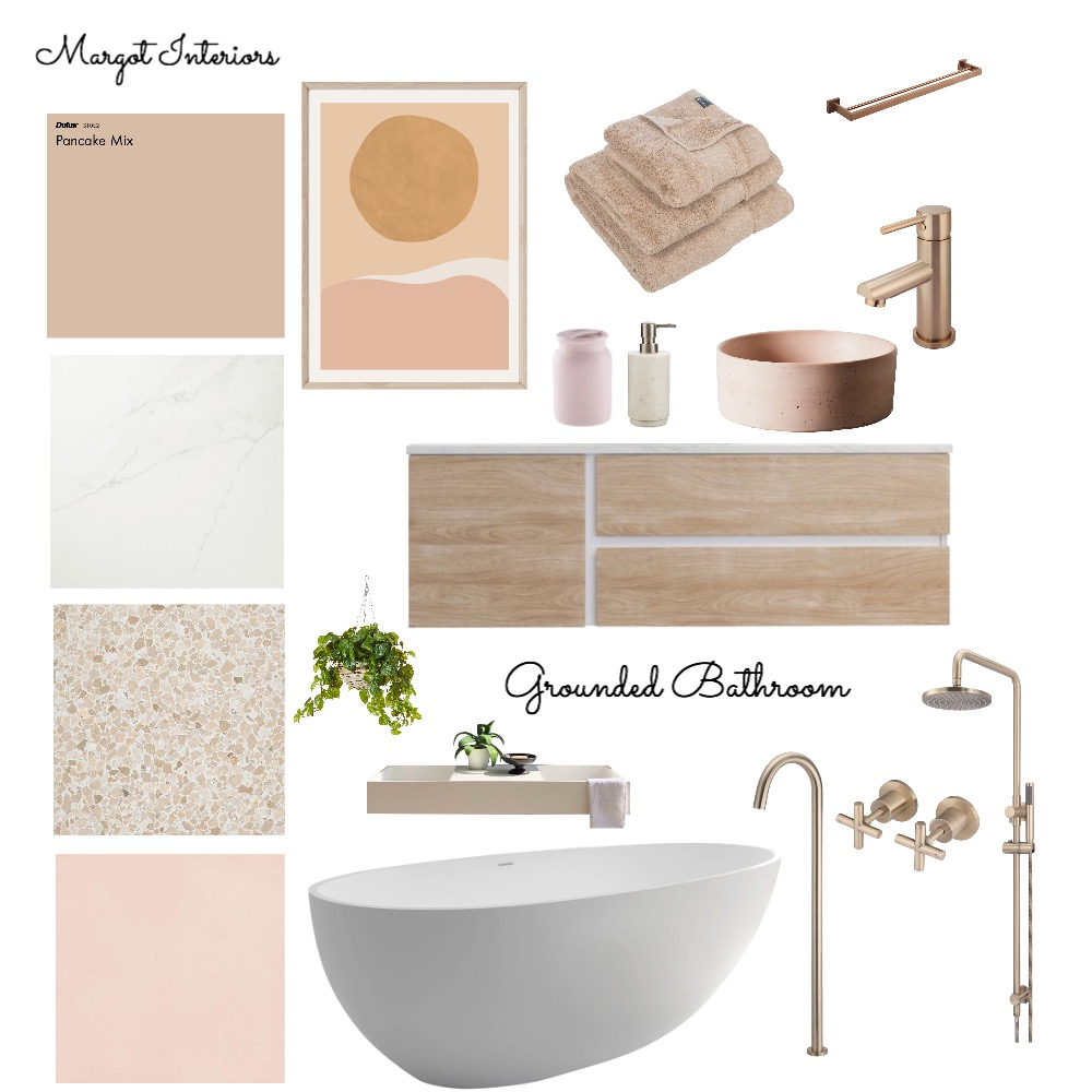 Grounded Bathroom Interior Design Mood Board by Margot Interiors on Style Sourcebook