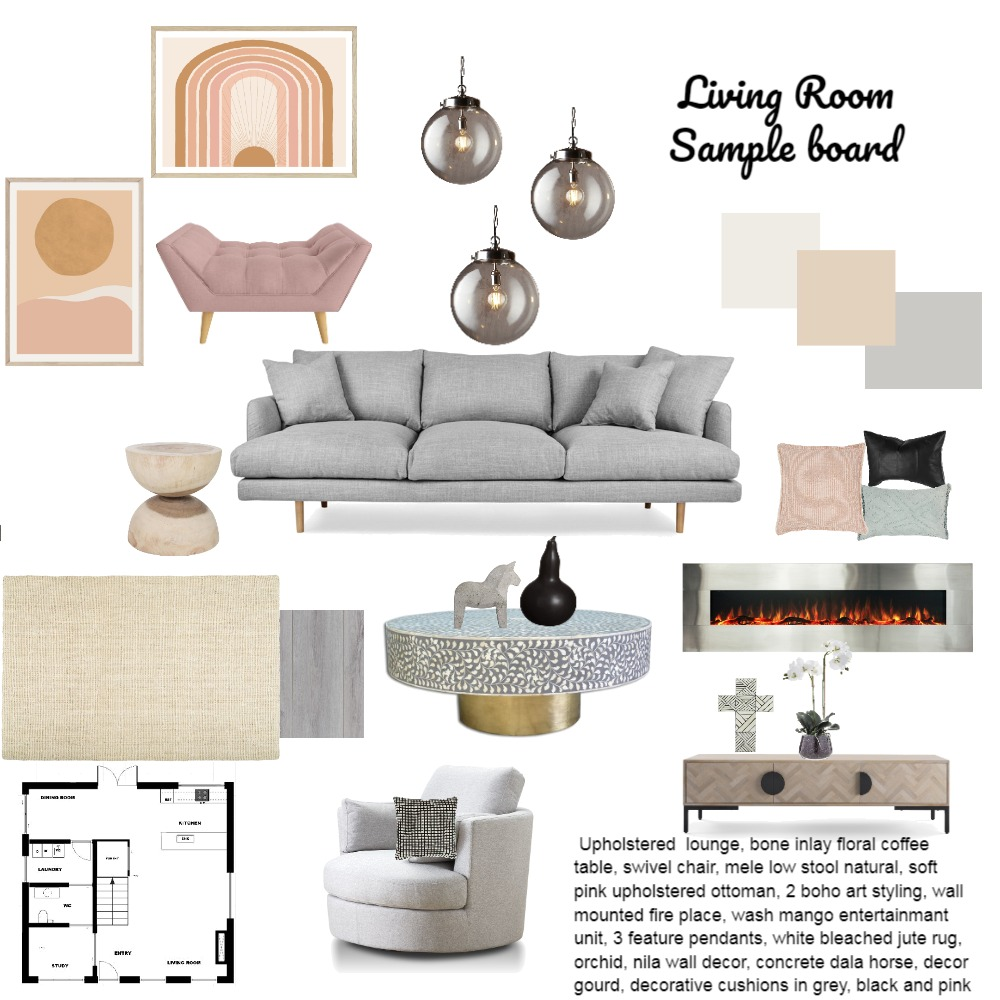 Sample Board Living Room Interior Design Mood Board by Danche on Style Sourcebook