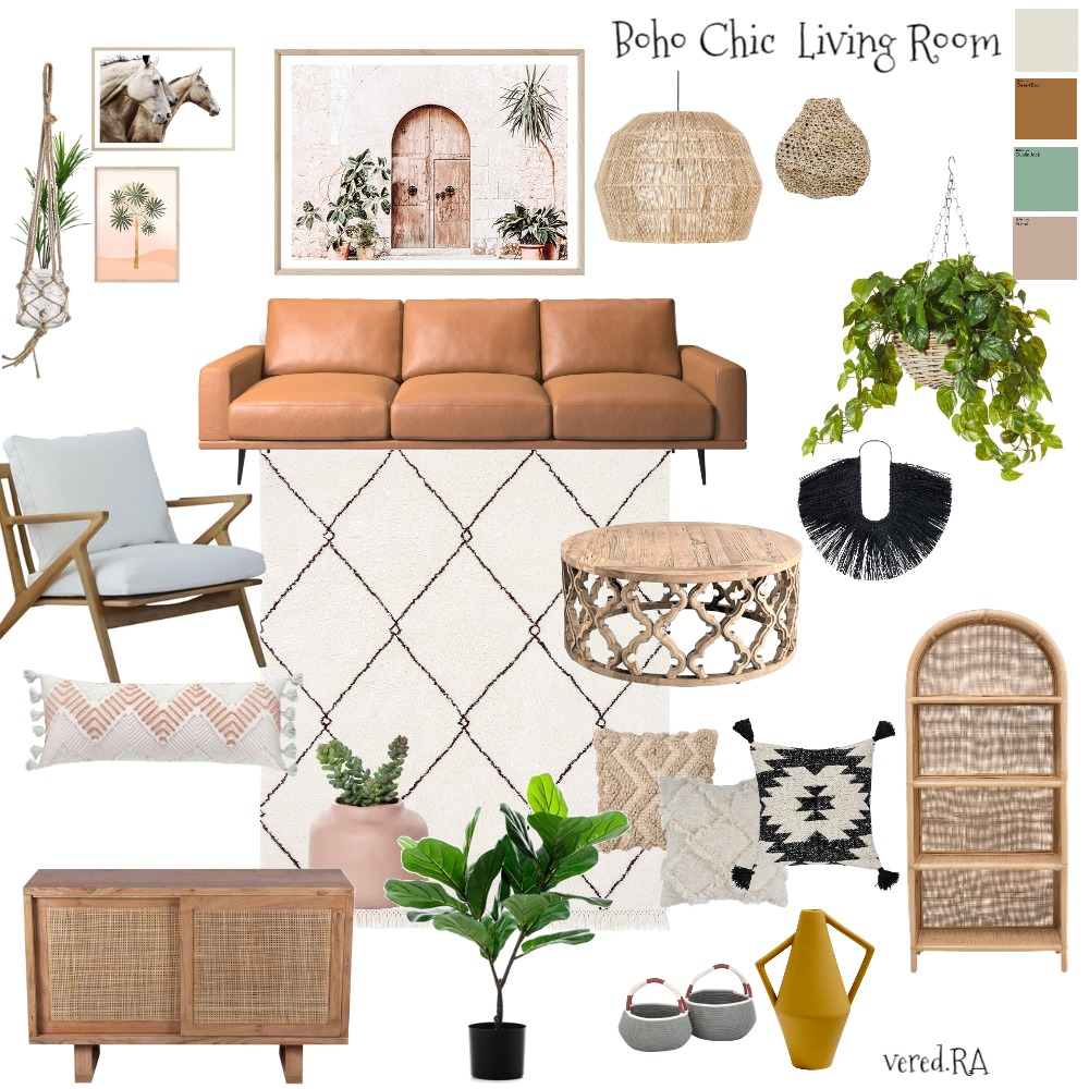 Boho Chic living room Interior Design Mood Board by Vered R.A on Style Sourcebook