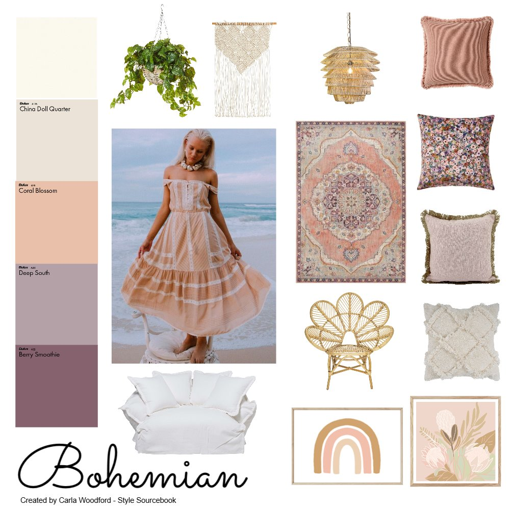 Bohemian pink Interior Design Mood Board by carla.woodford@me.com on Style Sourcebook