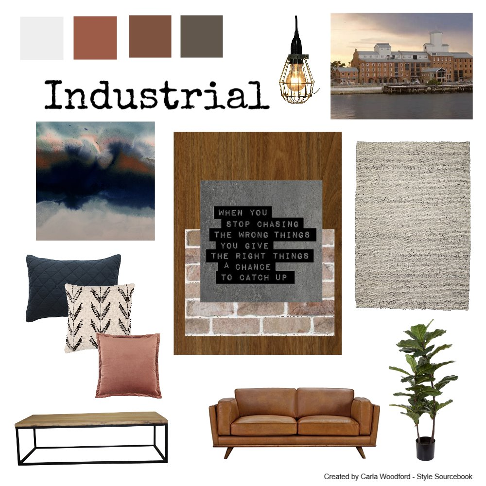 Industrial Warmth Interior Design Mood Board by carla.woodford@me.com on Style Sourcebook