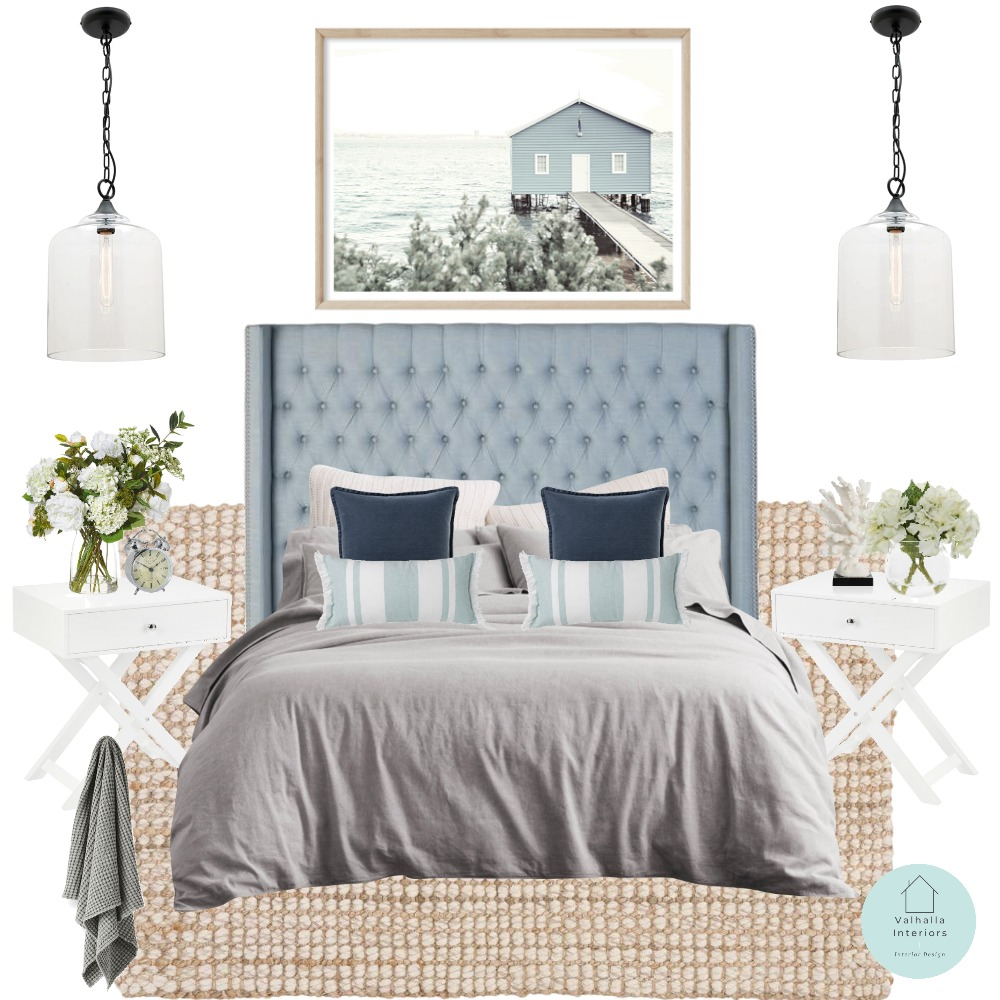 hamptons bedroom Interior Design Mood Board by Valhalla Interiors on Style Sourcebook