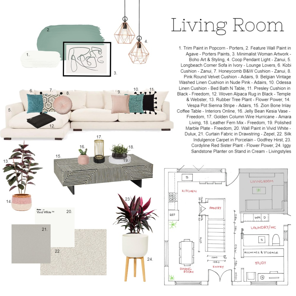 Mod9: Living Room Interior Design Mood Board by taylawilliams on Style Sourcebook