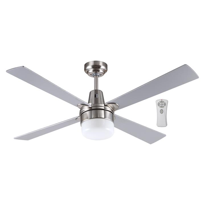 "Kimberley II Ceiling Fan with Light & Remote, 120cm/48"", Brushed Chrome"