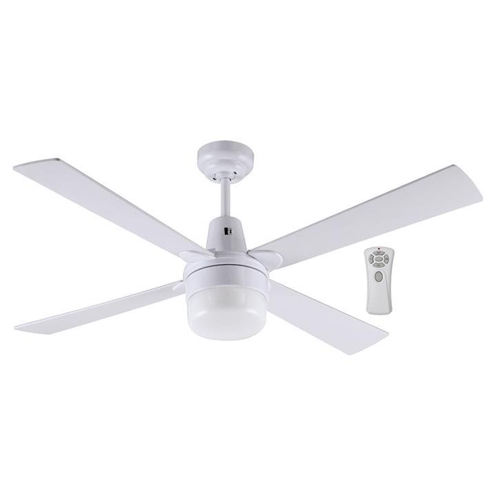 """Kimberley II Ceiling Fan with Light & Remote, 120cm/48"""", White"""