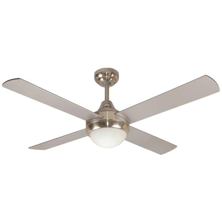 "Glendale Celing Fan with Light, 120cm/48"", Brushed Chrome"