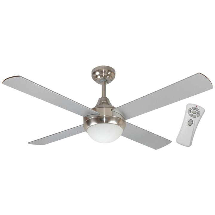 "Glendale Celing Fan with Light & Remote, 120cm/48"", Brushed Chrome"