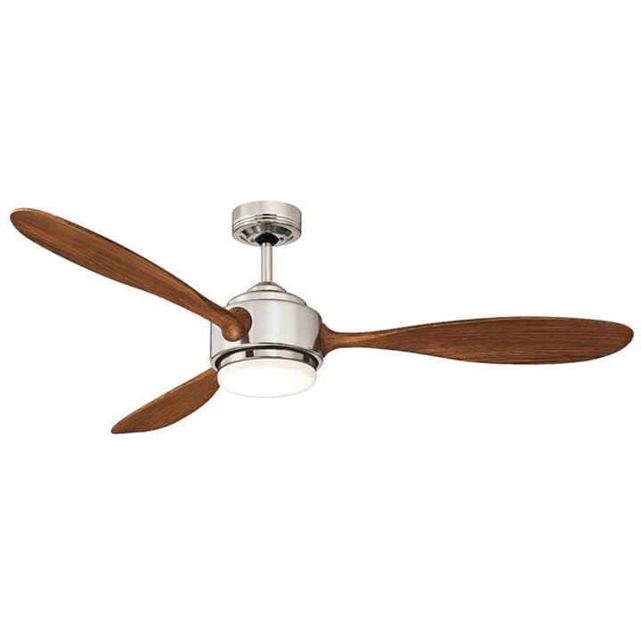 "Duxton AC Ceiling Fan with LED Light, 130cm/52"", Brushed Chrome"