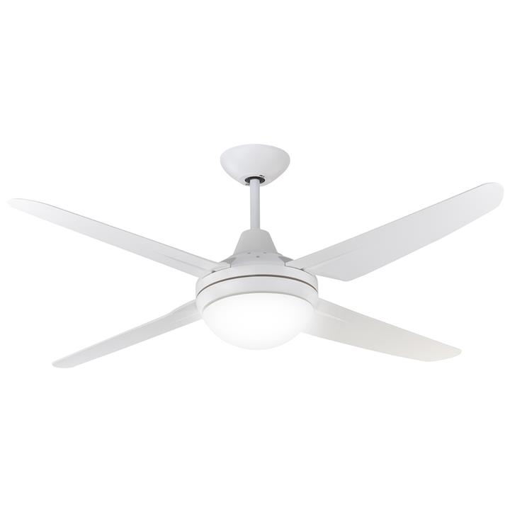 """Clare Indoor / Outdoor AC Ceiling Fan with Light, 135cm/53"""", White"""