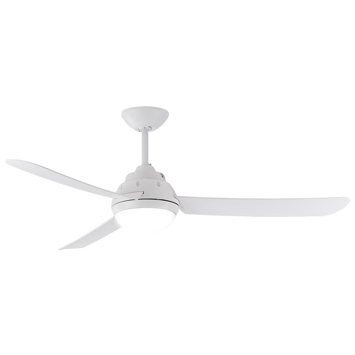 "Voltan Indoor / Outdoor AC Ceiling Fan with Light, 127cm/50"", White"