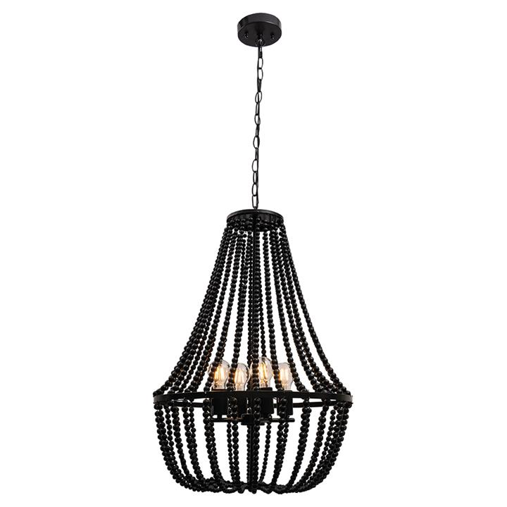 Willow Wooden Bead Pendant Light, Large, Black