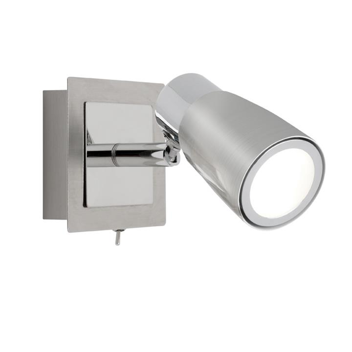 Alecia Metal LED Wall Spotlight with Switch, Brushded Chrome