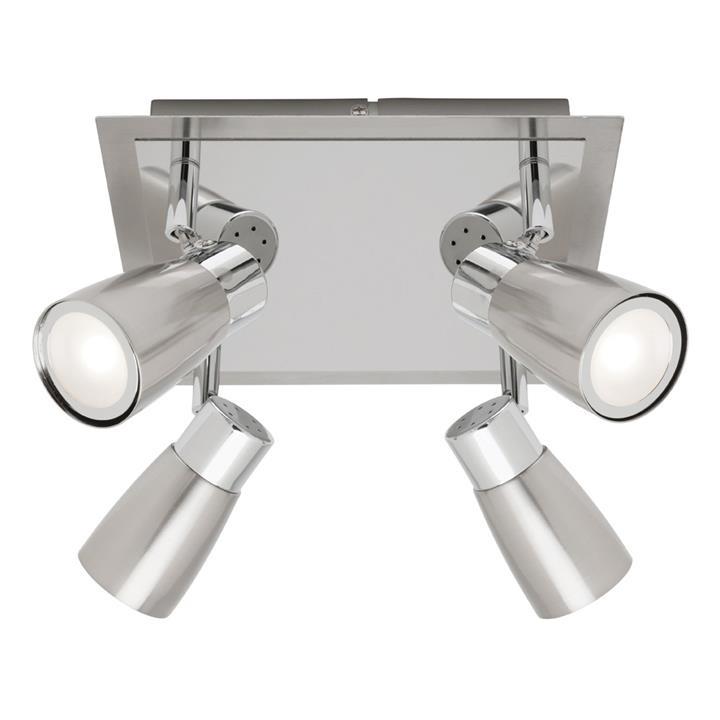 Alecia Metal LED Spotlight, Square, 4 Light, Brushed Chrome