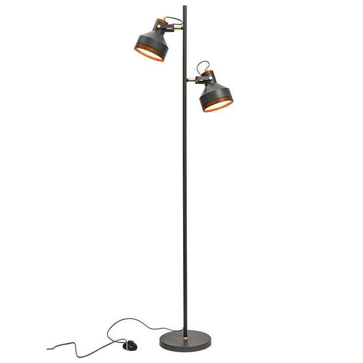 Clinton Metal Floor Lamp, Dark Grey