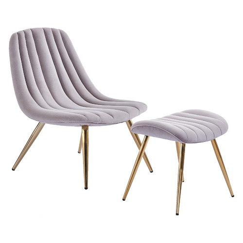 Etienne Velvet Accent Chair with Footstool Colour: Light Grey