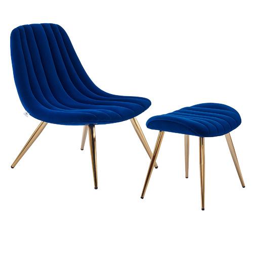 Etienne Velvet Accent Chair with Footstool Colour: Blue