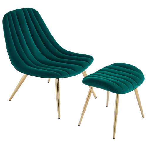 Etienne Velvet Accent Chair with Footstool Colour: Green