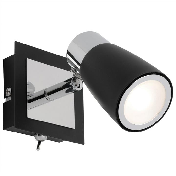 Alecia Metal LED Wall Spotlight with Switch, Black