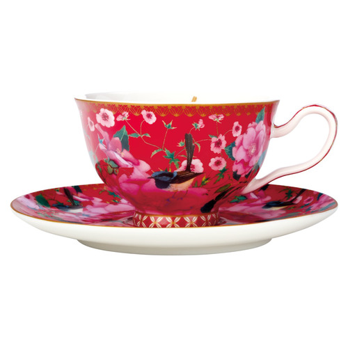 2 Piece Cherry Red Teas & C's Silk Road Footed Cup & Saucer Set