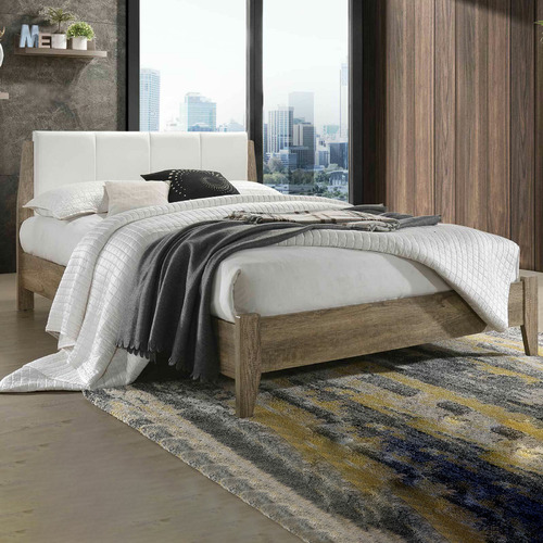 White & Natural Scandinavian Inspired Bed Size: Queen