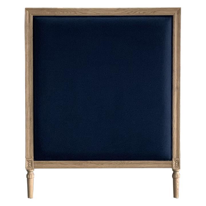 Abbey Linen & Oak Timber Bed Headboard, Single, Weathered Oak / Midnight