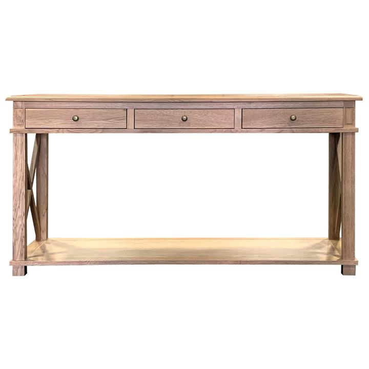 Phyllis Oak Timber 3 Drawer Console Table, 150cm,