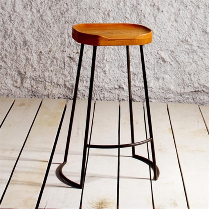Reuben Commercial Grade Metal Bar Stool with Timber Seat