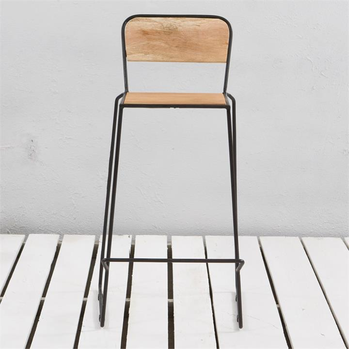 Essex St. Commercial Grade Metal Bar Stool with Timber Seat