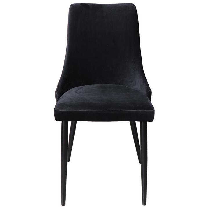 Elanora Velvet Fabric Dining Chair, Black