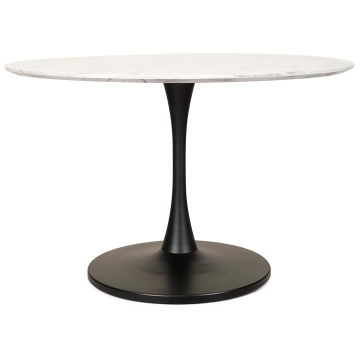 Hanaya  Marble Effect Round Dining Table, 120cm, White / Black