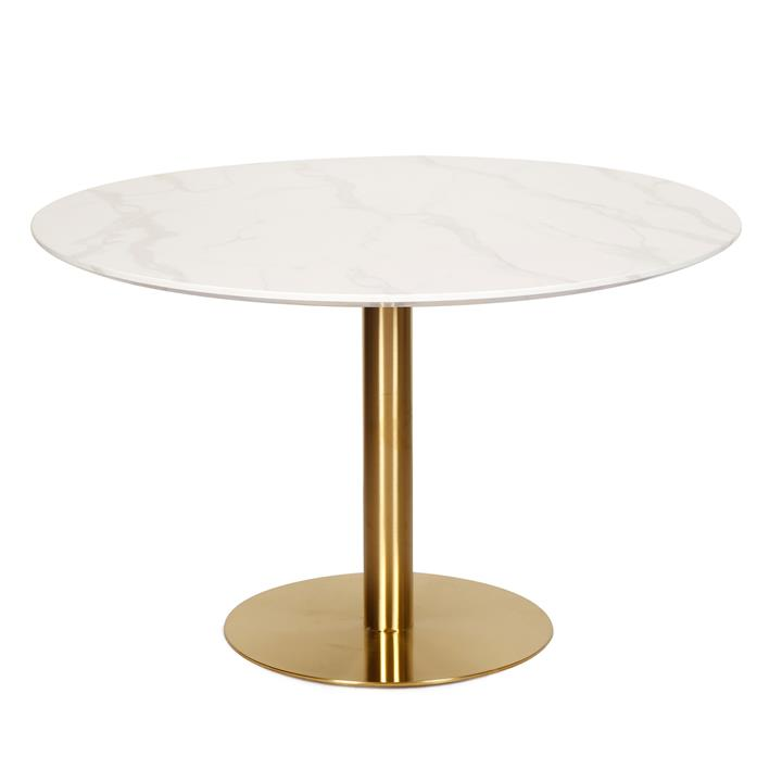 Oaklee Marble Effect Round Dining Table, 120cm, White Agaria / Gold